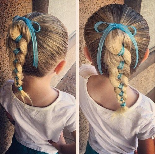 berniukas girl braided ponytail for long hair