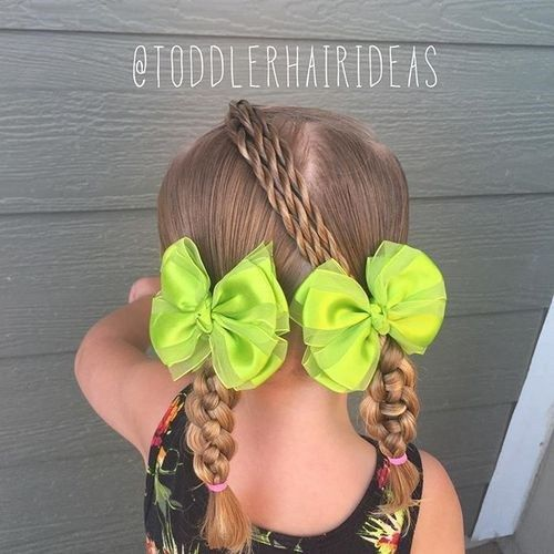 du braids and three twists for little girls