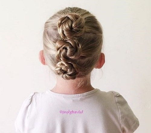 trys braided buns updo for toddlers