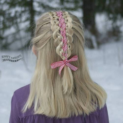 pinti half updo for girls with long hair