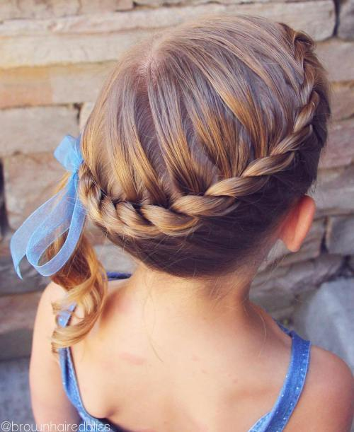 susukti crown updo with a side ponytail for toddlers