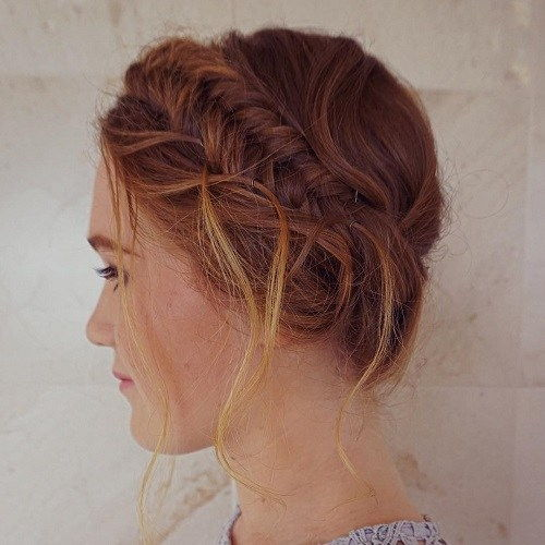 fishtailed updo with highlights