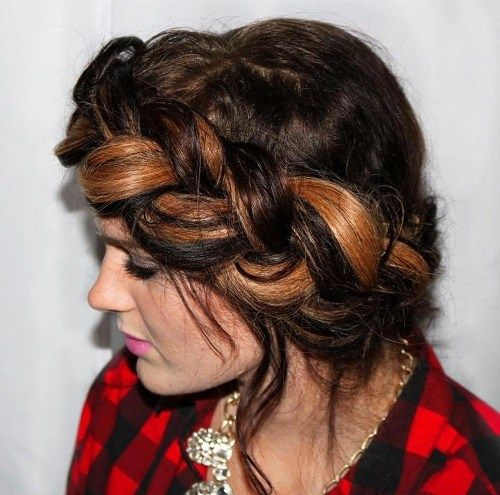 u neredu chunky milkmaid braid with highlights