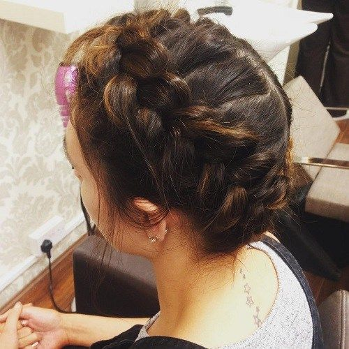 mljekarica braid updo with dutch braids