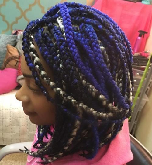 Crno, Blue And Blonde Box Braids Bob