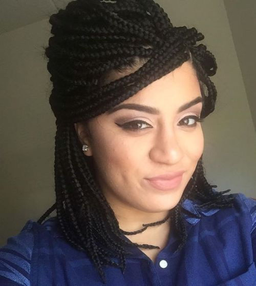 bouffant Half Updo For Box Braids