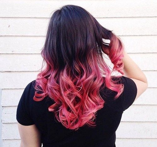 srednji black hair with pink ombre