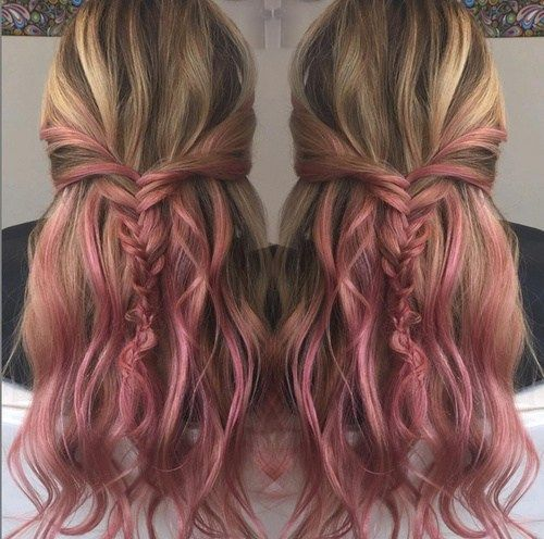 fin pink ombre for brown blonde