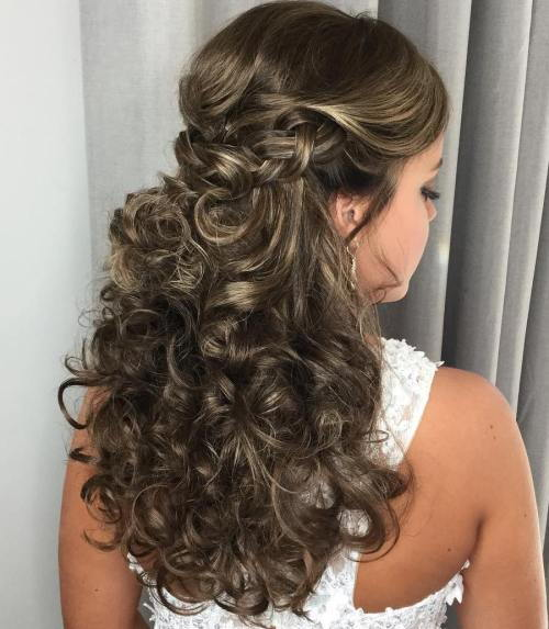 Ilgai Curly Half Updo With A Braid