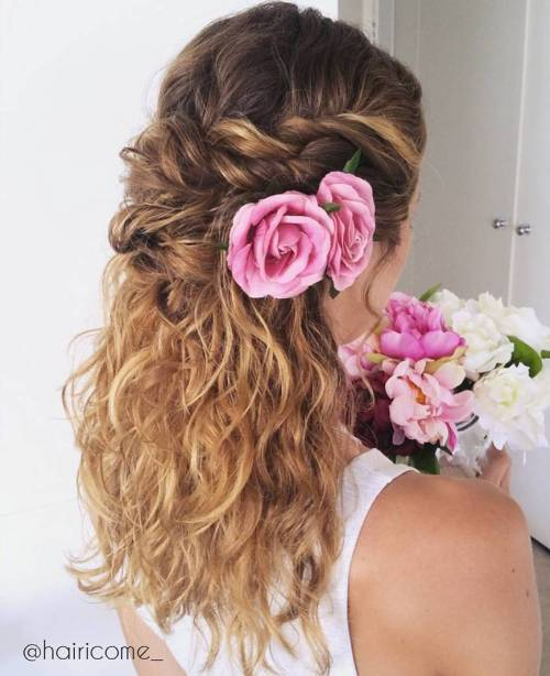 Susukti Half Updo With Flowers