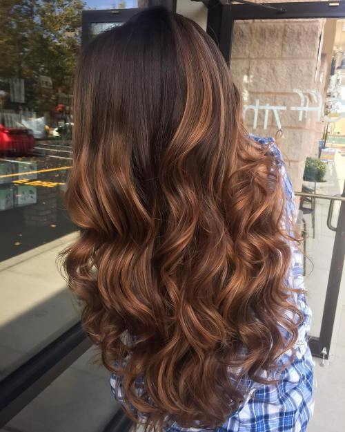 אובורן Highlights For Dark Brown Hair