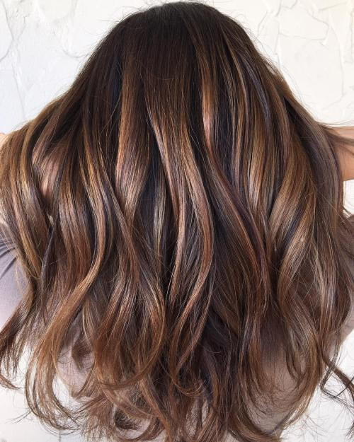 חום Hair With Balayage Highlights
