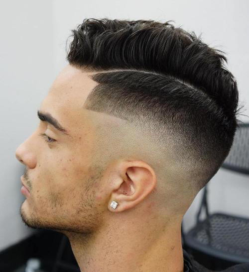 ארוך Top Fade With Line Up