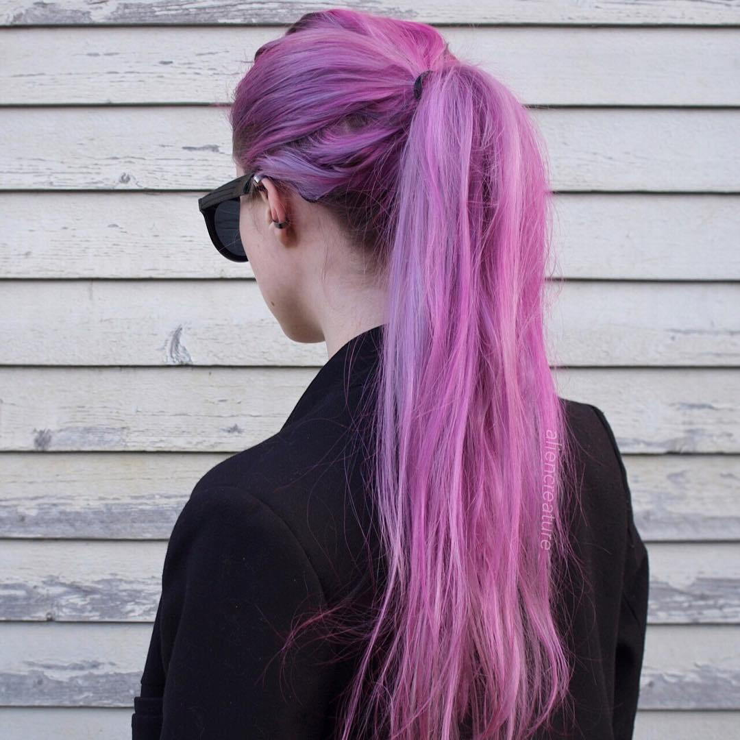 ארוך Pastel Purple Pink Hair