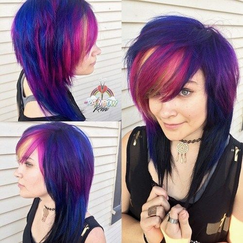 emo hairstyle with pink highlights