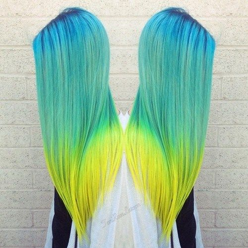 blå green and yellow ombre hair