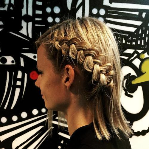 strana braid hairstyle for shorter hair