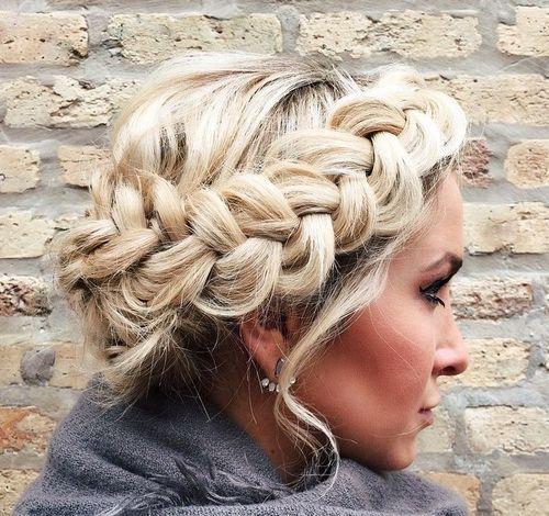 u neredu blonde crown braid updo