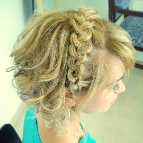 plavuša curly updo with headband braid