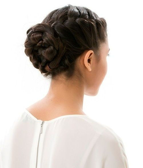 formalan French braided bun updo