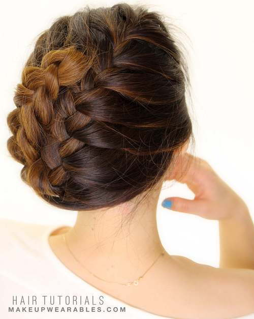 Lako French braided updo for medium hair