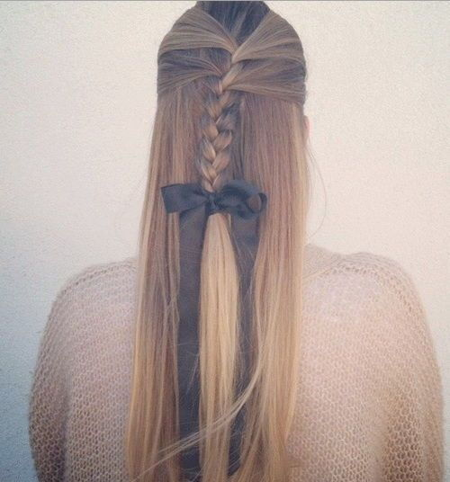 Pola up braided hairstyle for long straight hair