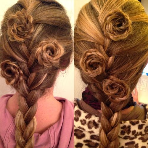 francuski braid and rosettes