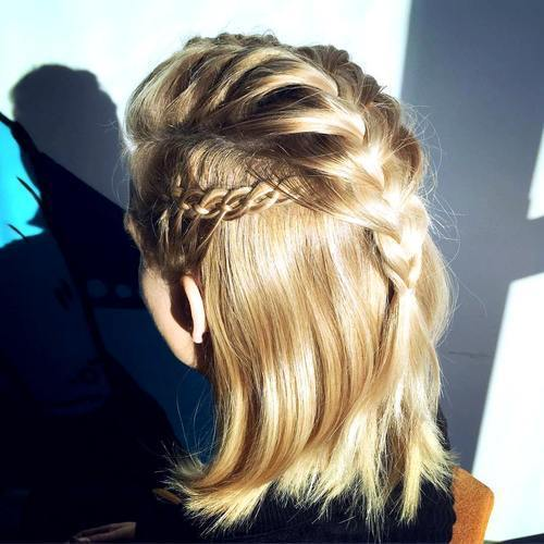 pola up braided hairstyle for shorter hair