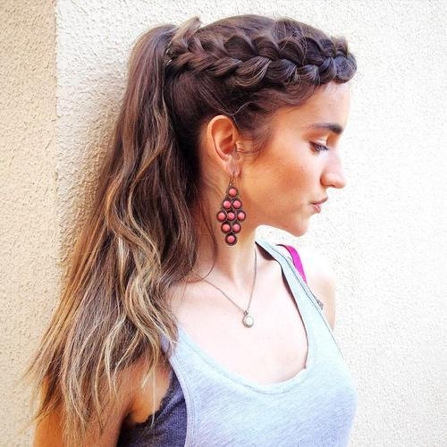 čipkan crown braid and ponytail hairstyle