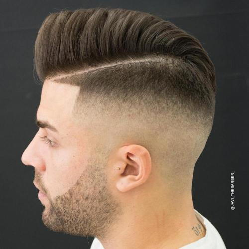 Aukštas Fade With Side Part And Line Up