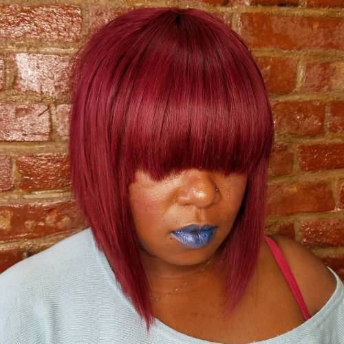 Layered Burgundy Dew-In Bob With Bangs