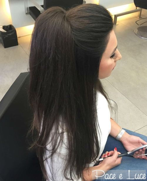 pusė up ponytail for straight hair