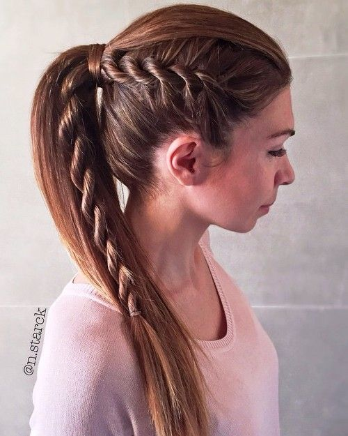 uodeginis petys for straight hair with a side rope braid