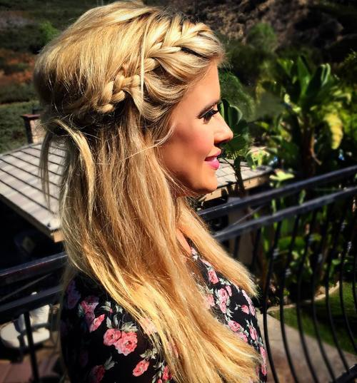 pusė up braided crown for long straight hair