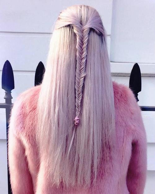 pusė up fishtail for long straight hair