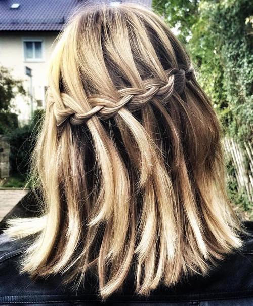 ilgai bob with a waterfall braid