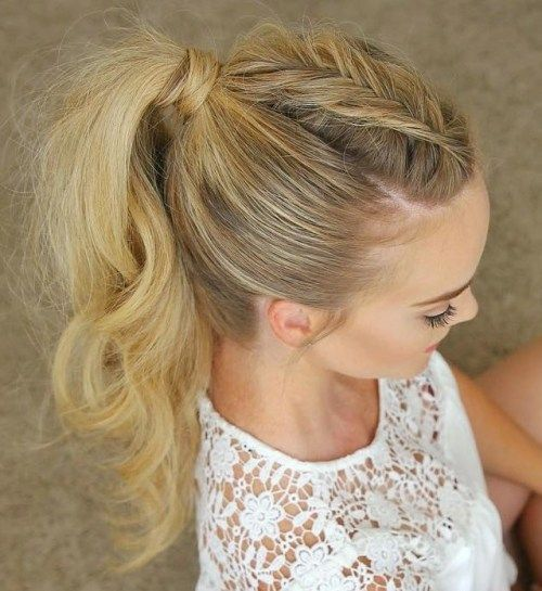 ארוך tousled braided ponytail