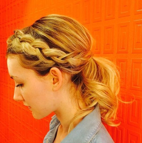 צַד French braid into low pony for medium hair