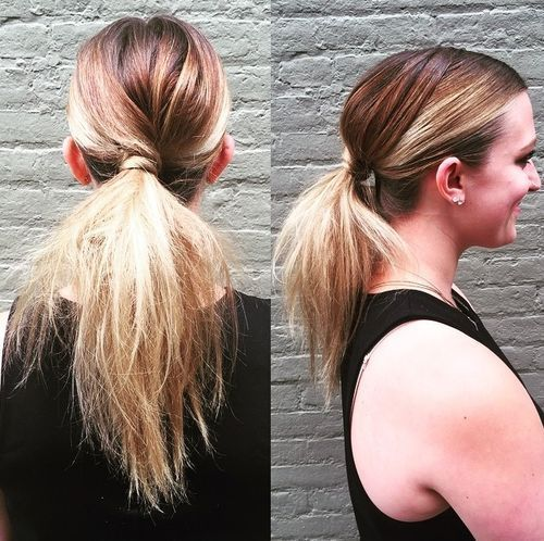 נָמוּך messy pony for straight ombre hair