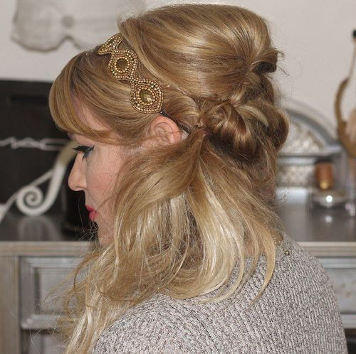 strana hairstyle with bouffant, bangs and headband