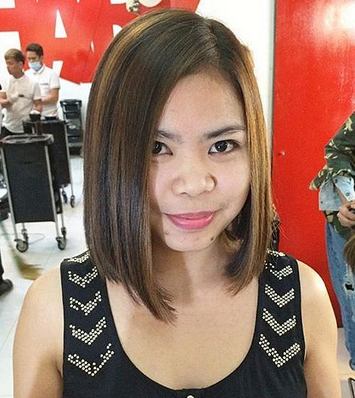 mrak brown asymmetrical bob with highlights