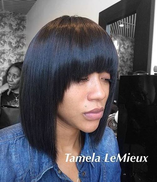 ključna kost straight bob with arched bangs