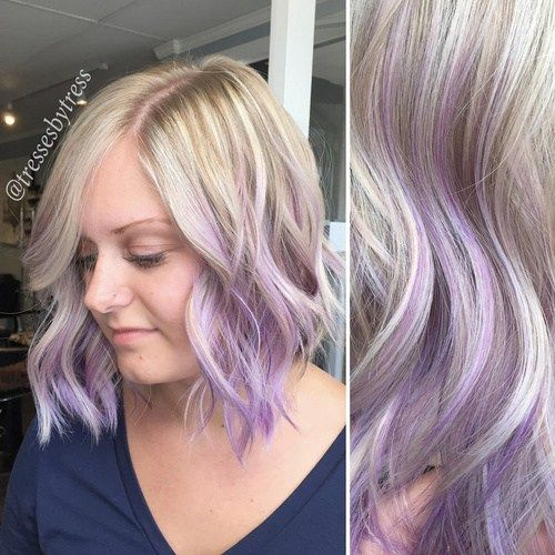 Šviesiaplaukis hair with lavender ombre highlights