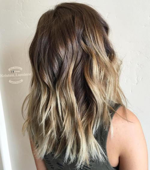 Choppy Brown Hair With Blonde Balayage