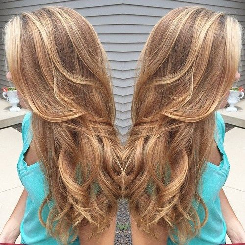 karamelė hair color with highlights