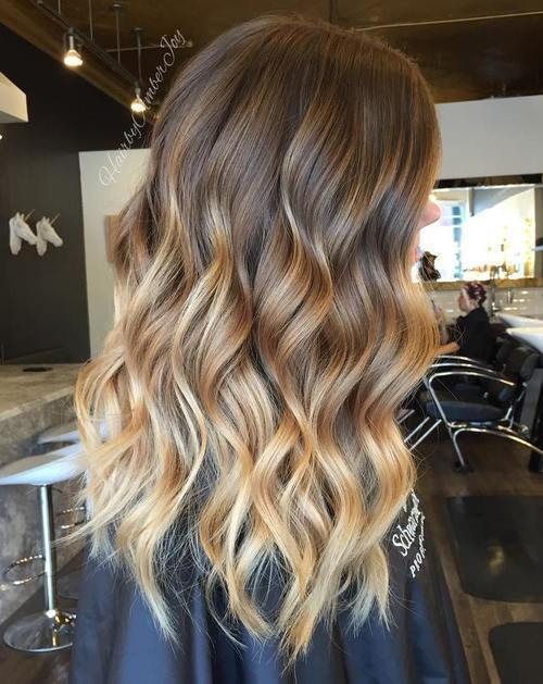 ruda hair with caramel blonde balayage highlights