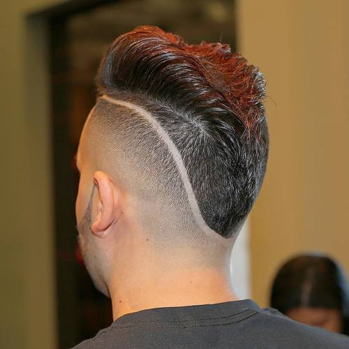 Mohikanac fade with shaved lines for men