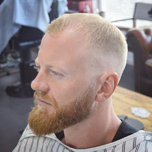 kratak blonde haircut with beard