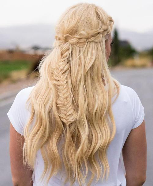 pola updo with crown braid and fishtail
