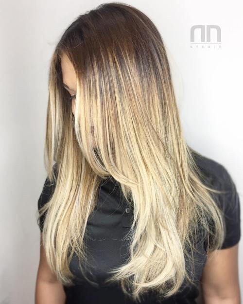 Plavuša Balayage Hair With Roots Fade